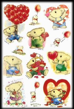 American greetings boomerange bear holiday variety pack valentines vintage agc boomerang bear friendship valentines balloons love stickers m4hsunfo