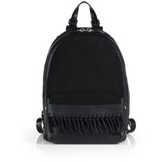 3.1 Phillip Lim Bianca Mini Fringed Leather & Suede Backpack (17.490 ARS) ❤ liked on Polyvore featuring bags, backpacks, apparel & accessories, black, genuine leather backpack, leather rucksack, mini backpack, suede backpack и day pack backpack