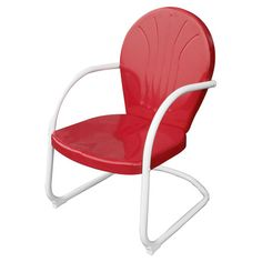 Retro-style metal patio chair in red.  Product: ChairConstruction Material: MetalColor: Red and ...