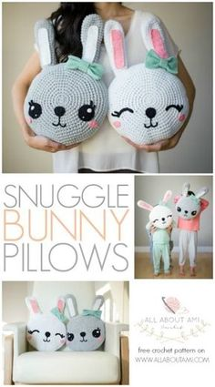 These sweet bunny pillows are irresistibly snuggly and the perfect size to cuddle! FREE crochet pattern & detailed step-by-step tutorial available!