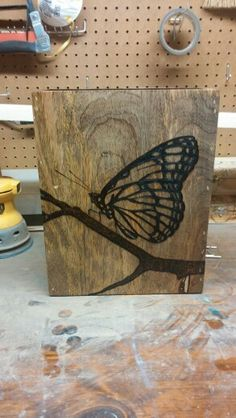 Monarch butterfly pyrography by SleepingGiantsPyro on etsy
