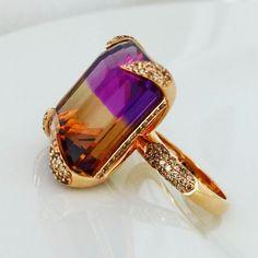 Wonderful 38 carat Ametrine in Cognac Diamond prongs set in rose gold. www.johnmeierfinejewelry.com
