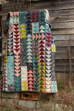 Flying Geese Quilt by Rachel of Stitched in Color