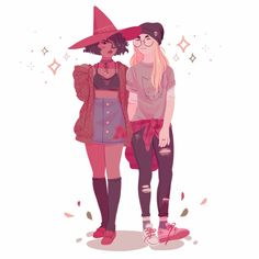 """xmenor-gins: """"flowersilk: """"autumn wlw content ft a girl and her witch gf 🍂 """" dressed up as the one on the left! your art is awesome, thanks for the inspiration💗 """" you look amazing! this is so good and i'm so happy my art inspired you. Art Gay, Lesbian Art, Pretty Art, Cute Art, Art Lesbien, Bel Art, Art Mignon, Modern Witch, Witch Art"""