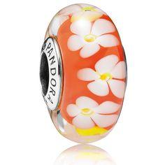 2016 Pandora Orange Flower Murano Charm 791624