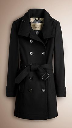 Black Short Double Wool Twill Trench Coat - Image 1