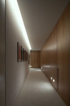 Hall lighting: cove and footlights at millwork Corridor Lighting, Hall Lighting, Entryway Lighting, Interior Lighting, Lighting Design, Lighting Stores, Lighting Ideas, Cove Lighting Ceiling, Industrial Lighting