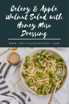 This Apple Walnut Salad is a great sweet-salty and crunchy salad. Makes a wonderful side dish or a delicious healthy light lunch. Easy Vegan Dinner, Vegan Dinner Recipes, Vegan Dinners, Lunch Recipes, Salad Recipes, Vegan Christmas, Christmas Recipes, Apple Walnut Salad, Miso Dressing