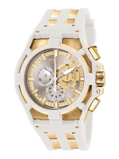 Men's Akula Gold & White Rubber Watch