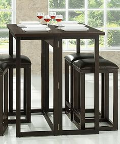 dark brown leeds five piece collapsible pub table set - Kitchen Bar Table Set
