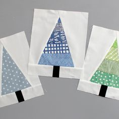 Get Scrappy With This Modern Christmas Tree Block - The great thing about these blocks is you probably have all the supplies you need right in your scr - Christmas Tree Quilt Block, Christmas Quilting Projects, Christmas Patchwork, Christmas Quilt Patterns, Christmas Trees, Tree Quilt Pattern, Crazy Quilt Blocks, Winter Quilts, Panel Quilts