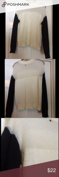 Black and white sweater Goes up to your neck, very soft knitting, top part is sheer Guess Sweaters Crew & Scoop Necks