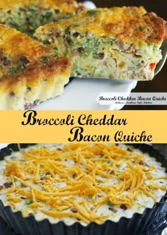 Broccoli Cheddar Bacon Quiche. Hubby hates quiches with crust so hopefully this is close enough to crust less for his tastes