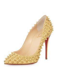 X2DYU Christian Louboutin Follies Spike-Studded Glitter Red Sole Pump, Gold