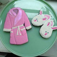 Fuzzy Bathrobe, bunny slippers, pink heart, scrabble board cookie, get well cookie