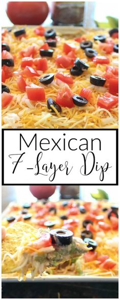 Layers of refried beans, guacamole, sour cream and cheese make this Mexican 7-layer dip both flavorful and addicting. My husband and I can easily destroy a plate of this dip in no time.