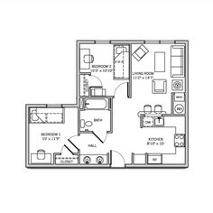 Campus Park Apartments 4 Bedroom 2 Bathroom Apartment 1 204 Sq Ft Residence Halls Floor Plans Hall