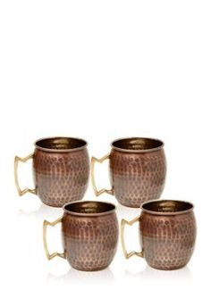 Old Dutch International Ltd.  Set of 4 Antique Hammered Solid Copper Moscow Mule Mugs