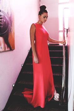 Watermelon dress by Amourie Becker. Watermelon Dress, One Shoulder, Photoshoot, Elegant, Formal Dresses, Summer, Fashion Design, Vintage, Classy