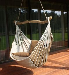 Make your patio the ultimate relaxation spot in your home using this hammock rocking chair. The unique design captures the best of both worlds – combining the comfort of a lay down hammock with the gentle back and forth motion of a rocking chair. Hanging Hammock Chair, Indoor Hammock, Hammock Swing, Swinging Chair, Hammocks, Hammock Ideas, Portable Hammock, Hammock Tent, Hanging Chairs