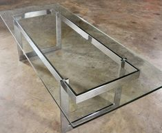 Vintage Mid-Century Modern Milo Baughman Style Chrome and Glass Coffee Table 2 Coffee Table Base, Unique Coffee Table, Coffee Table Styling, Coffee Table Design, Modern Coffee Tables, Modern Table, Iron Furniture, Steel Furniture, Table Furniture