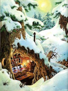 Tony Wolf's illustration from the Woodland Gnomes book Wolf Illustration, Illustration Inspiration, Winter Illustration, Woodland Illustration, Fantasy Kunst, Fantasy Art, Fairy Land, Fairy Tales, Fairytale Art