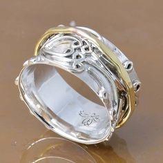 SOLID 925 STERLING SILVER SPINNER RING 5.19g DJR7370 SZ-8 #Handmade #Ring