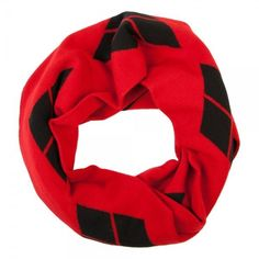 DC Comics Harley Quinn Infinity Knit Scarf Red Black Diamonds Warm Winter Batman #Bioworld #KnitInfinityScarf #Winter