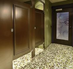 Bathroom Partitions Boise ceiling braced partition with moldings on doors. ironwood