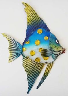 Blue Wall Art | ... Metal Glass Wall Art Picture Sculpture - Blue Yellow Angel Fish | eBay