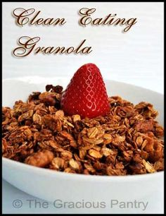 Granola...  3 cups rolled oats, ½ cup chopped walnuts, ½ cup unsweetened apple sauce, ¼ cup honey, 2 tsp cinnamon.   mix oats and walnuts in one bowl, mix remaining ingredients with a whisk.  Pour wet ingredients with oats and blend well.  Spread over parchment lined cookie sheet.  Bake 45-60 minutes, stir every 15 so it doesn't stick/burn.  It's done when it has a nice golden brown color.