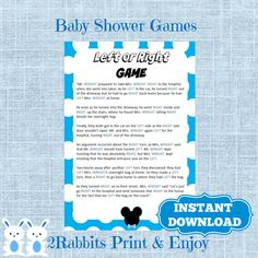 Mickey Mouse Left Or Right Baby Shower Game - Instant Download - Disney Left Right Baby Shower Game - Instant Download by 2RabbitsPrintEnjoy on Etsy