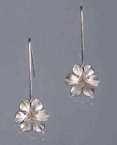 Folded Leaf Flower Wire Earrings by Sadie Wang. Flower-like earrings hand fabricated in sterling silver.