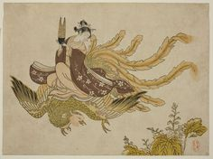 Attributed to Suzuki Harunobu,   Young Woman Riding a Phoenix, 1765