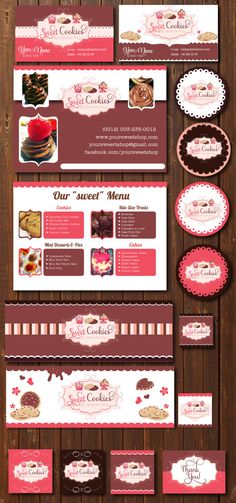 Cookie & Cupcakes branding marketing set - logo, flyer, business cards, facebook timeline and labels - business branding starter pack on Etsy, $25.00