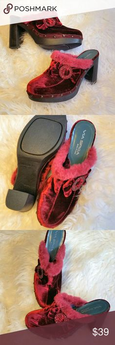 "Via Spiga red velvet clog sz 8.5 Elegant and funky deep red velvet clog with 4"" heel,  fur trim,  and sparkling red jeweled buckle. Only worn once,  like new. Via Spiga Shoes Mules & Clogs"