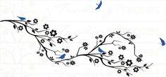 Cherry Blossom Branch & Birds-Large Wall Decals@Erica Heidler