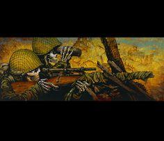 Day of the Dead Artist David Lozeau, In the Crosshairs, David Lozeau Dia de los Muertos Art - 1