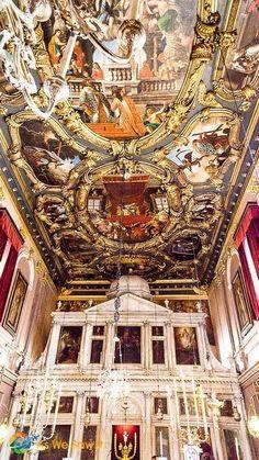 Greece Travel Inspiration - Ornate ceiling and iconostasis at Saint Spyridon Church, Kerkyra, Corfu, Greece