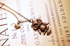 Owl & heart necklace