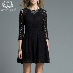 MYCOURSE New Autumn Fashion Hollow Out Elegant White Lace Elegant Party Dress High Quality Women Long Sleeve Casual Dresses