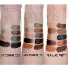 Swatches of the new @wetnwildbeauty Comfort Zone palette ($4.99 on their website or in-store at select Walgreens). Compared to the original, this has two additional matte transition shades. The formula feels more dense and has less fallout than the original but it also feels harder to pick up (especially the brown shade with the blue shift). It's still very pigmented though and is supposed to last longer on the eyes. Swipe to see comparisons of the two Comfort Zones plus the ABH Mario P...