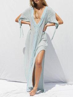 7078207540c6c Presale Solid Color V-neck Split-side Maxi Dress