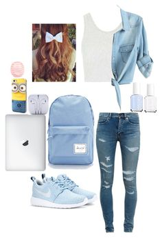 """Back to school outfit"" by cool-outfits ❤ liked on Polyvore featuring Topshop, Yves Saint Laurent, NIKE, Herschel Supply Co., River Island, Essie, women's clothing, women, female and woman"