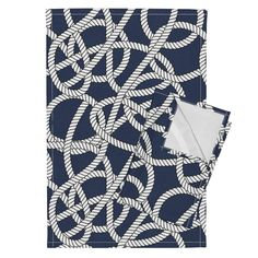 Orpington Tea Towels featuring Nautical Navy Rope Pattern Repeat by seasonofvictory | Roostery Home Decor