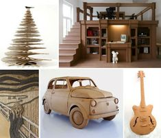 cardboard-creations-tons of ideas for a multitude of structures, sculptures, and objets d'art, with cardboard.