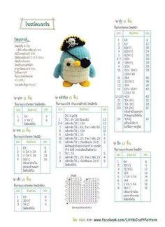 Pinguino pirata Amigurumi