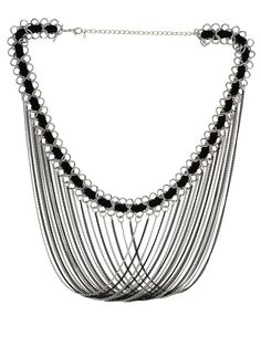 Designer Costume Jewelry Black and Silver Colour Alloy Neckpiece