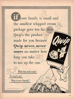 """1954 Qwip Whipped Cream Original Food and Drink Print Ad -An original vintage 1954 advertisement, not a reproduction -Measures approximately 10"""" x 13"""" to 11"""" x 14"""" -Ready for matting and framing."""
