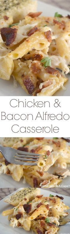 Chicken & Bacon Alfredo Casserole Pot Pasta, Pasta Dishes, Food Dishes, Main Dishes, Penne Pasta, Good Potluck Dishes, I Love Food, Good Food, Yummy Food